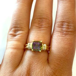 10k gold, mystic fire topaz and diamond  ring